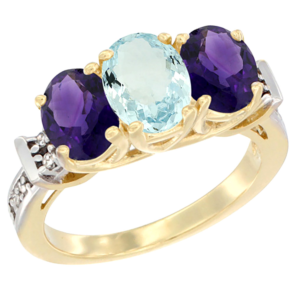 14K Yellow Gold Natural Aquamarine & Amethyst Sides Ring 3-Stone Oval Diamond Accent, sizes 5 - 10