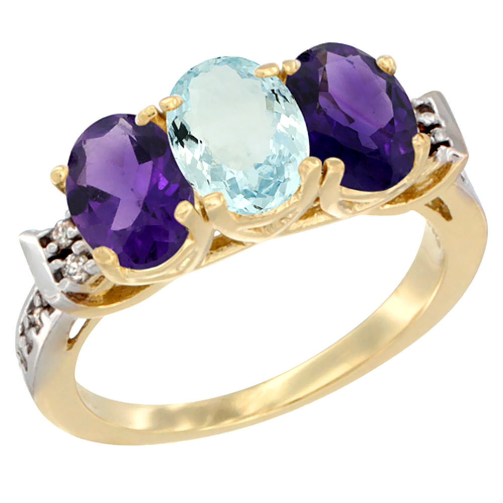 14K Yellow Gold Natural Aquamarine & Amethyst Sides Ring 3-Stone 7x5 mm Oval Diamond Accent, sizes 5 - 10