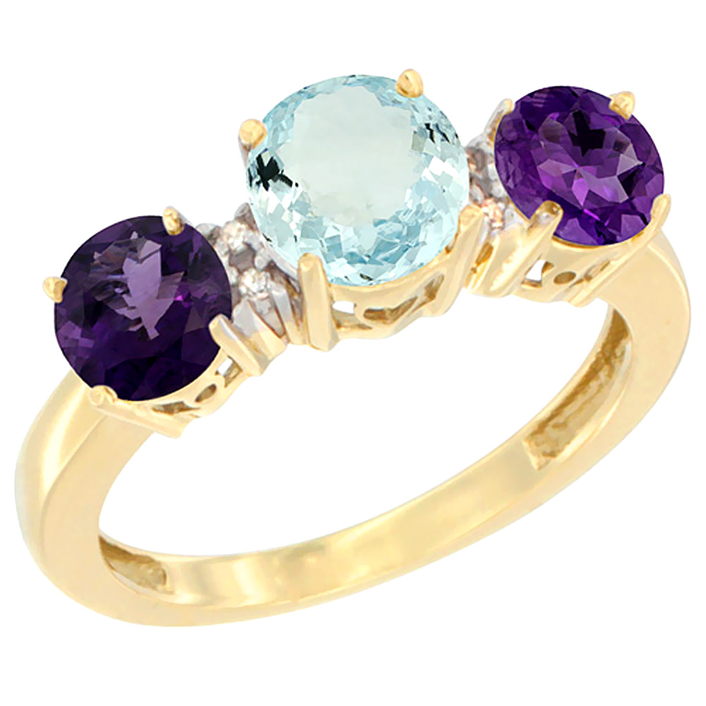 14K Yellow Gold Round 3-Stone Natural Aquamarine Ring & Amethyst Sides Diamond Accent, sizes 5 - 10
