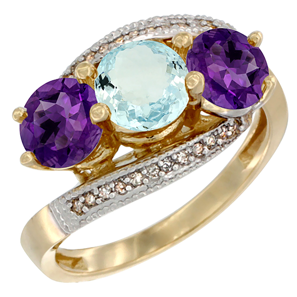14K Yellow Gold Natural Aquamarine & Amethyst Sides 3 stone Ring Round 6mm Diamond Accent, sizes 5 - 10