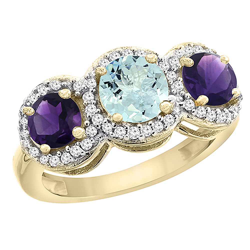 14K Yellow Gold Natural Aquamarine & Amethyst Sides Round 3-stone Ring Diamond Accents, sizes 5 - 10