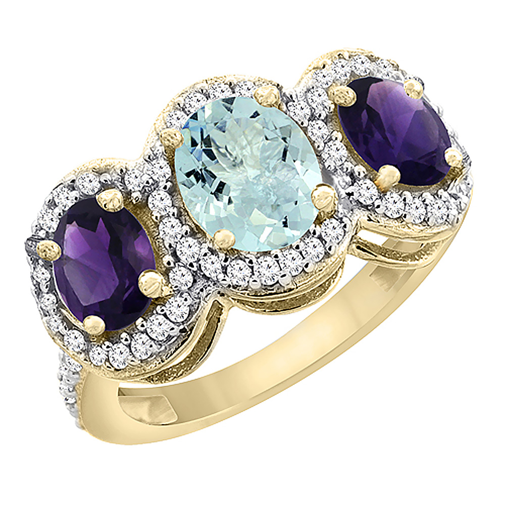 14K Yellow Gold Natural Aquamarine & Amethyst 3-Stone Ring Oval Diamond Accent, sizes 5 - 10