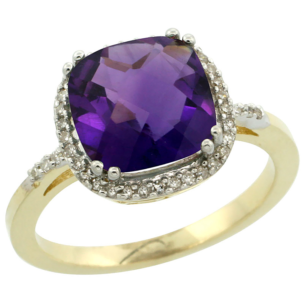 14K Yellow Gold Diamond Natural Amethyst Ring Cushion-cut 9x9mm, sizes 5-10