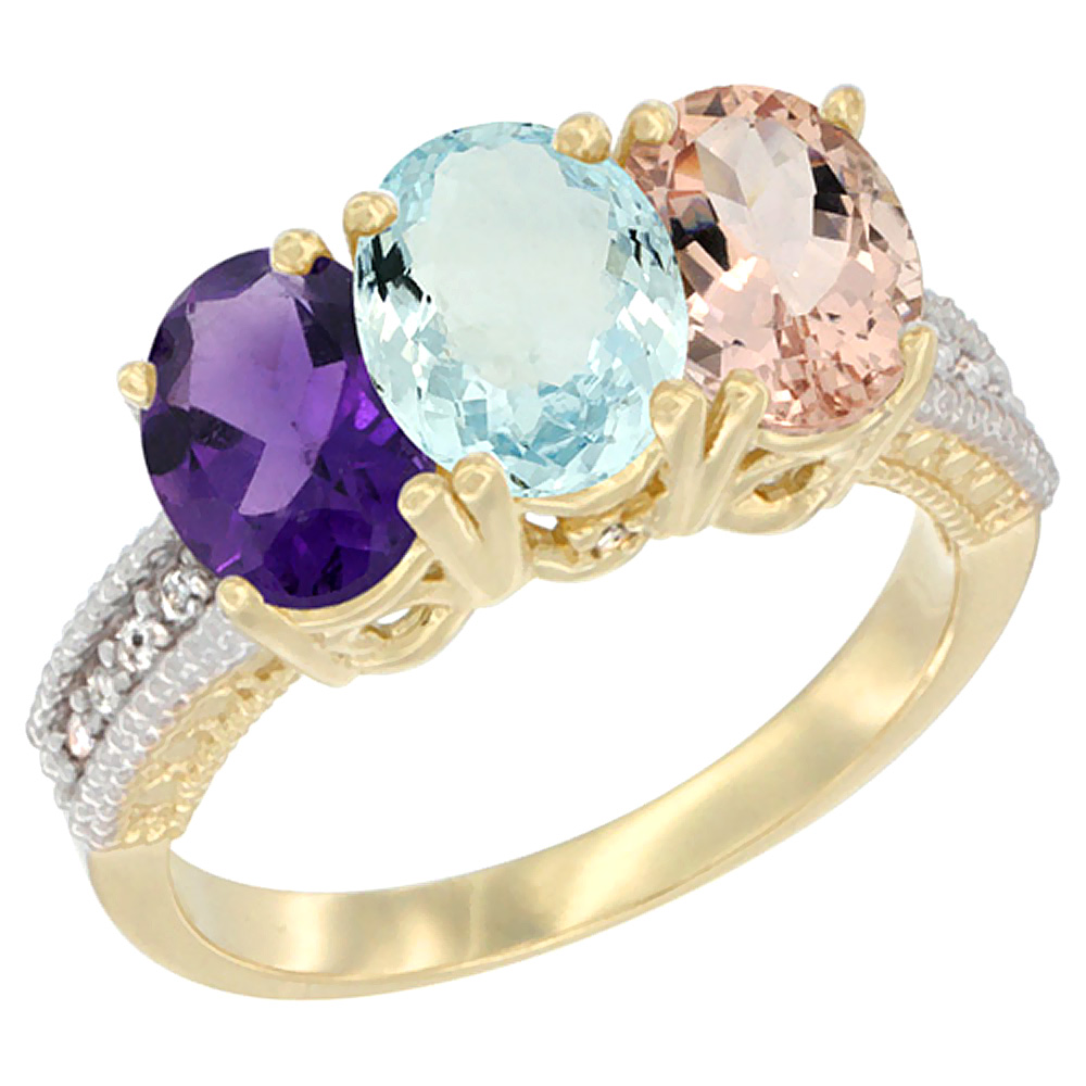 14K Yellow Gold Natural Amethyst, Aquamarine & Blue Sapphire Ring 3-Stone 7x5 mm Oval Diamond Accent, sizes 5 - 10