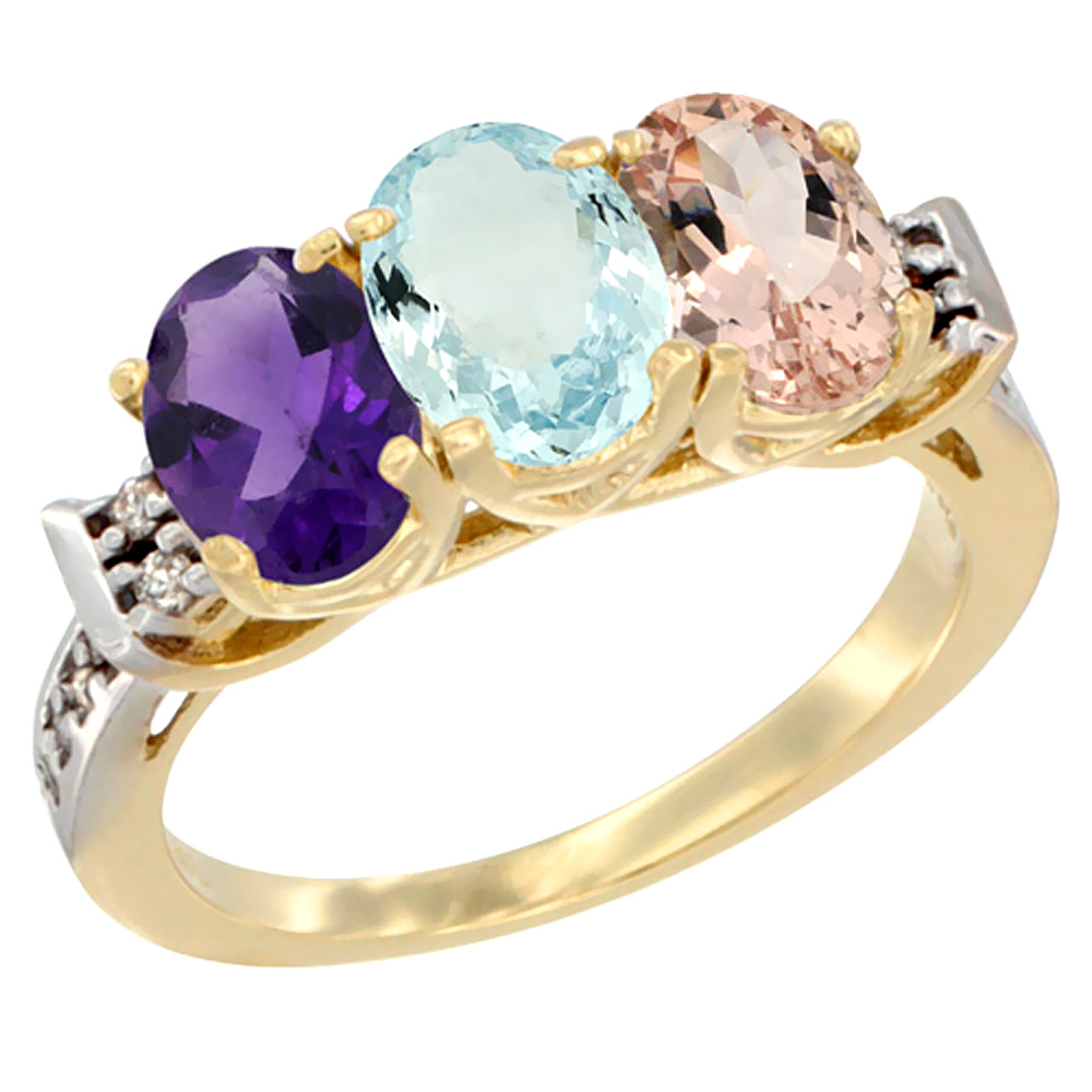 14K Yellow Gold Natural Amethyst, Aquamarine & Morganite Ring 3-Stone 7x5 mm Oval Diamond Accent, sizes 5 - 10