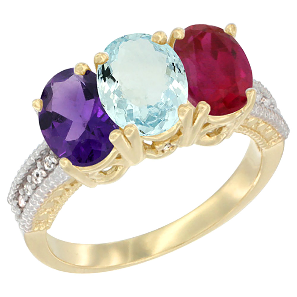 14K Yellow Gold Natural Amethyst, Aquamarine & Enhanced Ruby Ring 3-Stone 7x5 mm Oval Diamond Accent, sizes 5 - 10