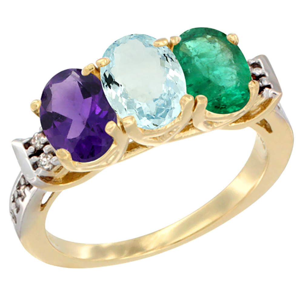 14K Yellow Gold Natural Amethyst, Aquamarine & Emerald Ring 3-Stone 7x5 mm Oval Diamond Accent, sizes 5 - 10