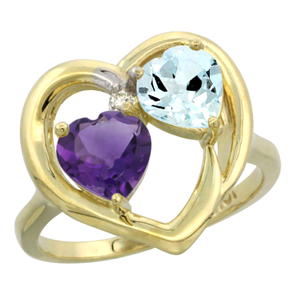 14K Yellow Gold Diamond Two-stone Heart Ring 6mm Natural Amethyst & Aquamarine, sizes 5-10