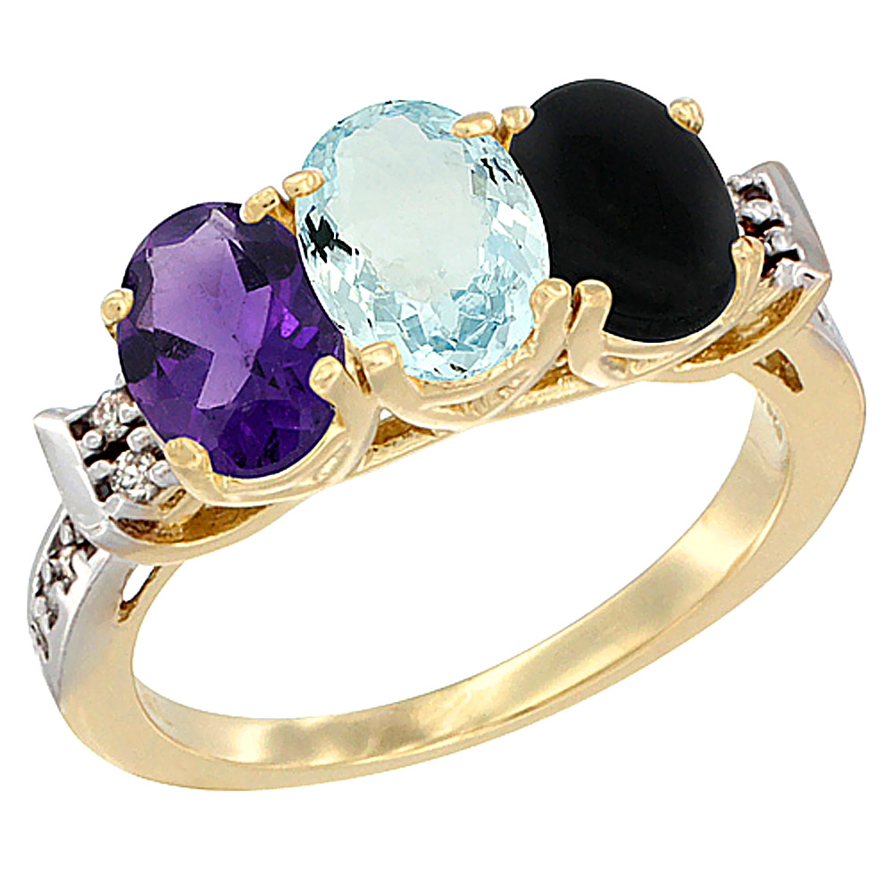14K Yellow Gold Natural Amethyst, Aquamarine & Black Onyx Ring 3-Stone 7x5 mm Oval Diamond Accent, sizes 5 - 10