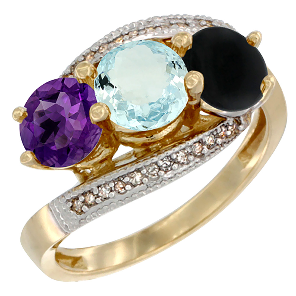 14K Yellow Gold Natural Amethyst, Aquamarine & Black Onyx 3 stone Ring Round 6mm Diamond Accent, sizes 5 - 10
