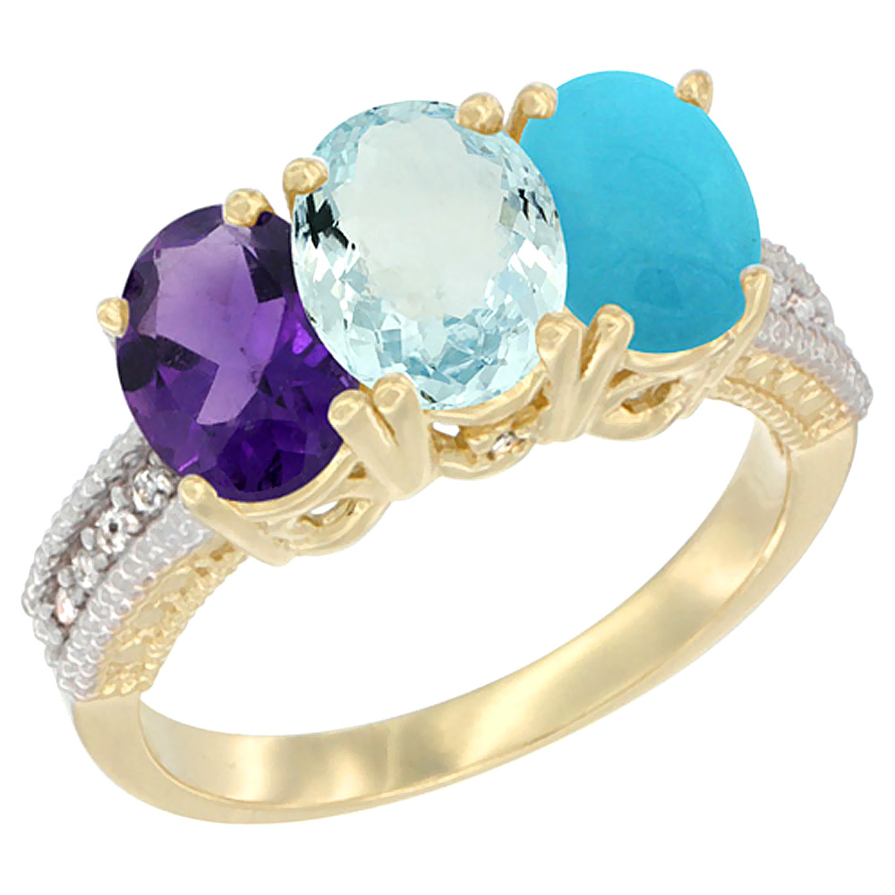 14K Yellow Gold Natural Amethyst, Aquamarine & Turquoise Ring 3-Stone 7x5 mm Oval Diamond Accent, sizes 5 - 10