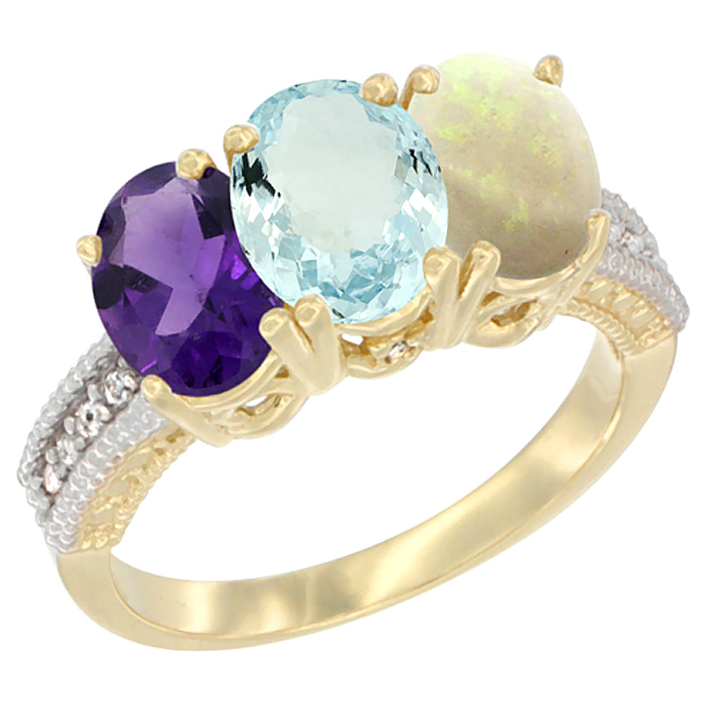 14K Yellow Gold Natural Amethyst, Aquamarine & Opal Ring 3-Stone 7x5 mm Oval Diamond Accent, sizes 5 - 10