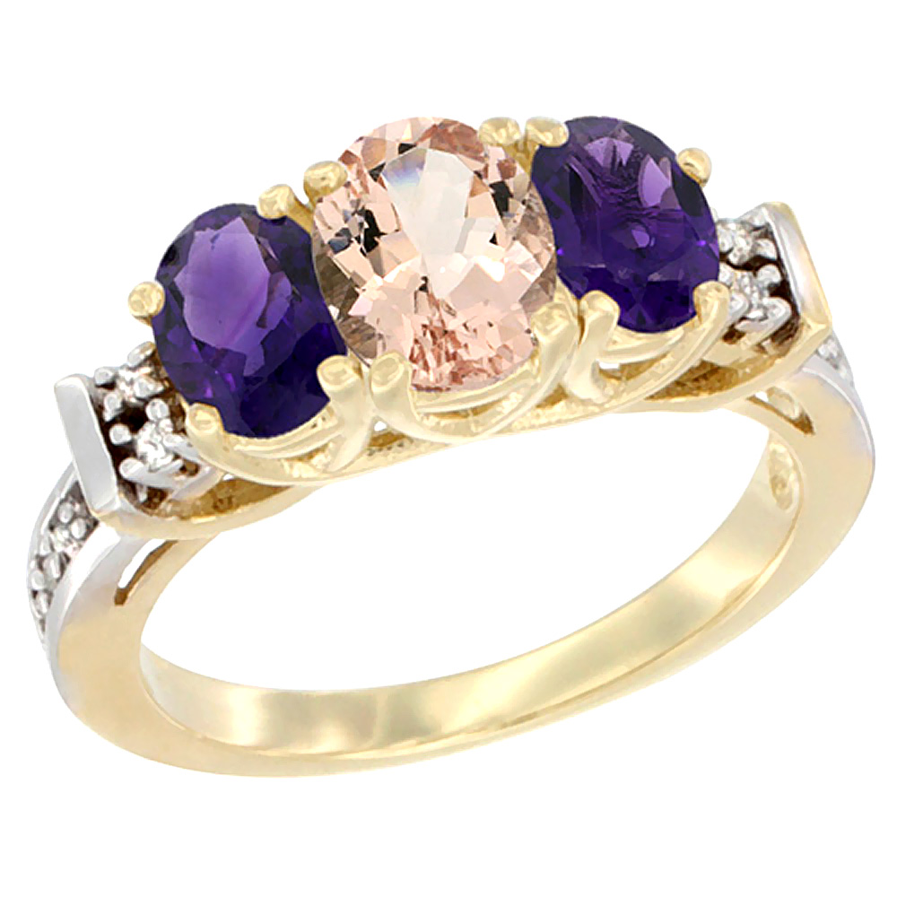 14K Yellow Gold Natural Morganite & Amethyst Ring 3-Stone Oval Diamond Accent