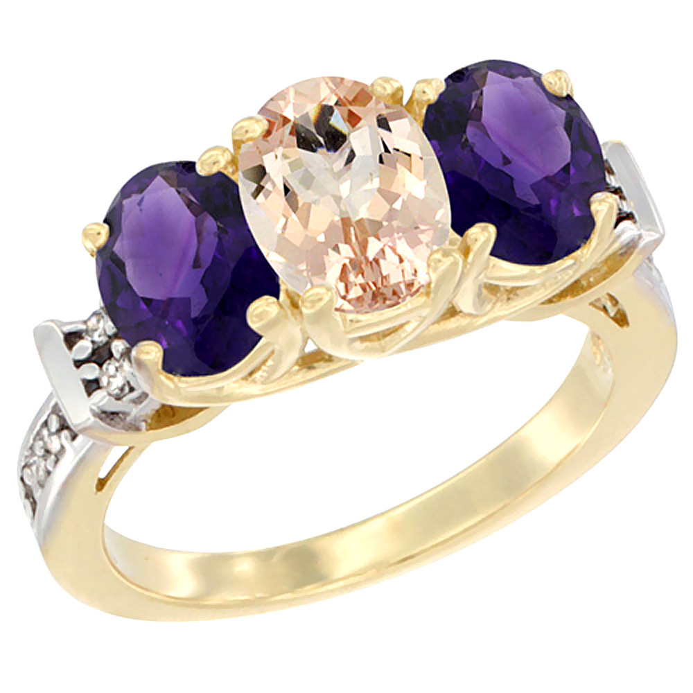 10K Yellow Gold Natural Morganite & Amethyst Sides Ring 3-Stone Oval Diamond Accent, sizes 5 - 10