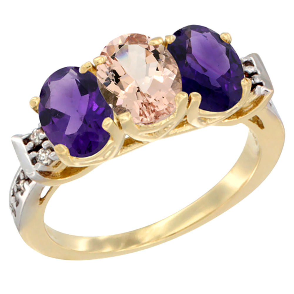 10K Yellow Gold Natural Morganite & Amethyst Sides Ring 3-Stone Oval 7x5 mm Diamond Accent, sizes 5 - 10