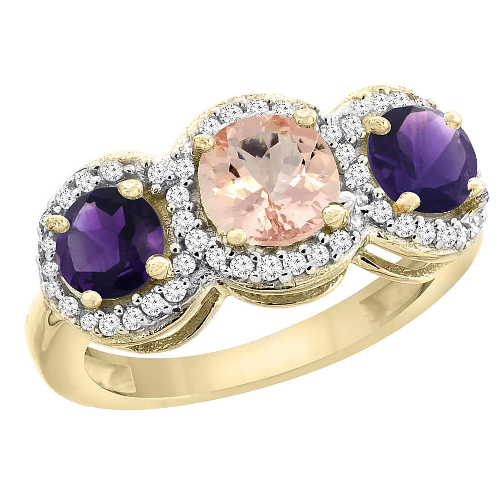10K Yellow Gold Natural Morganite & Amethyst Sides Round 3-stone Ring Diamond Accents, sizes 5 - 10