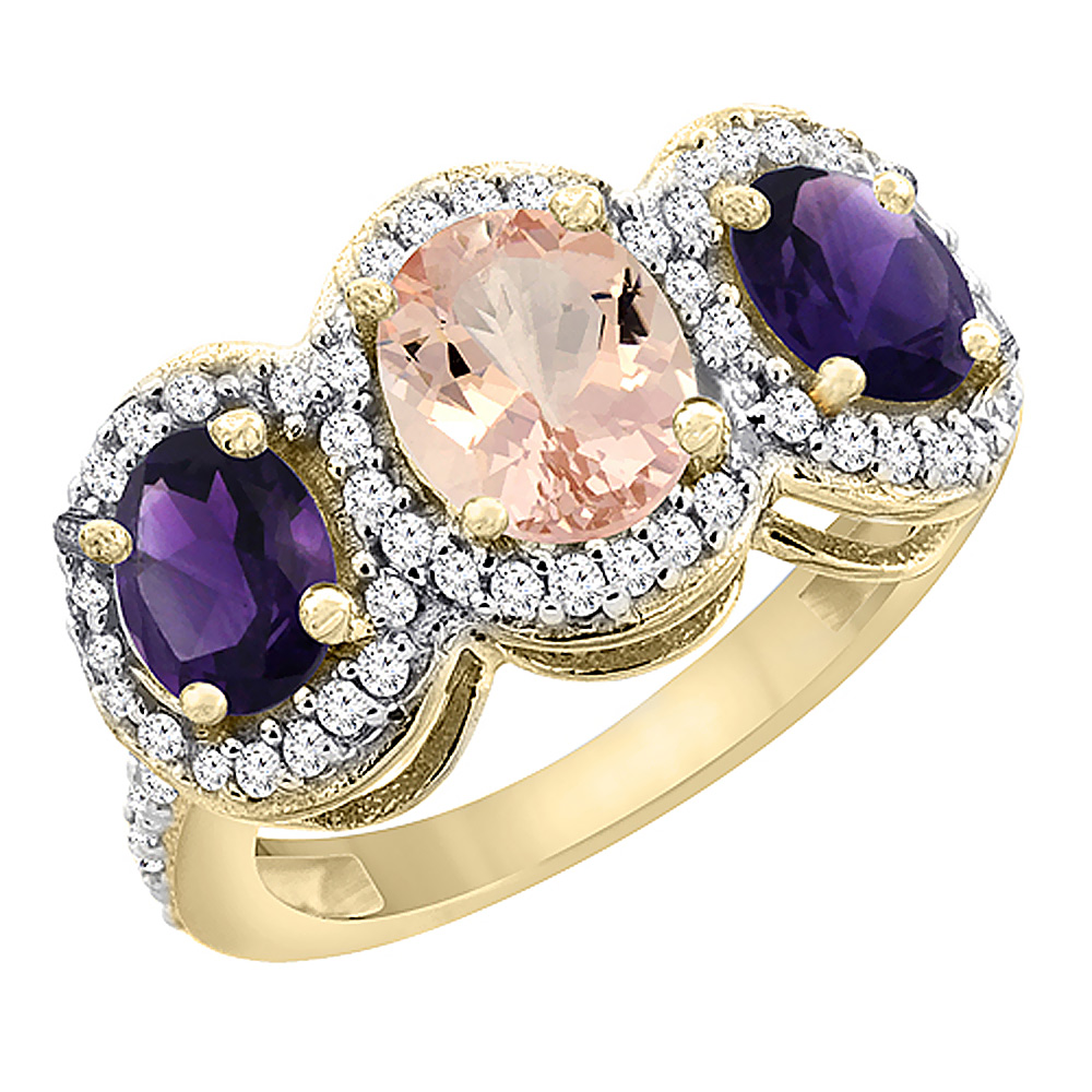 10K Yellow Gold Natural Morganite & Amethyst 3-Stone Ring Oval Diamond Accent, sizes 5 - 10