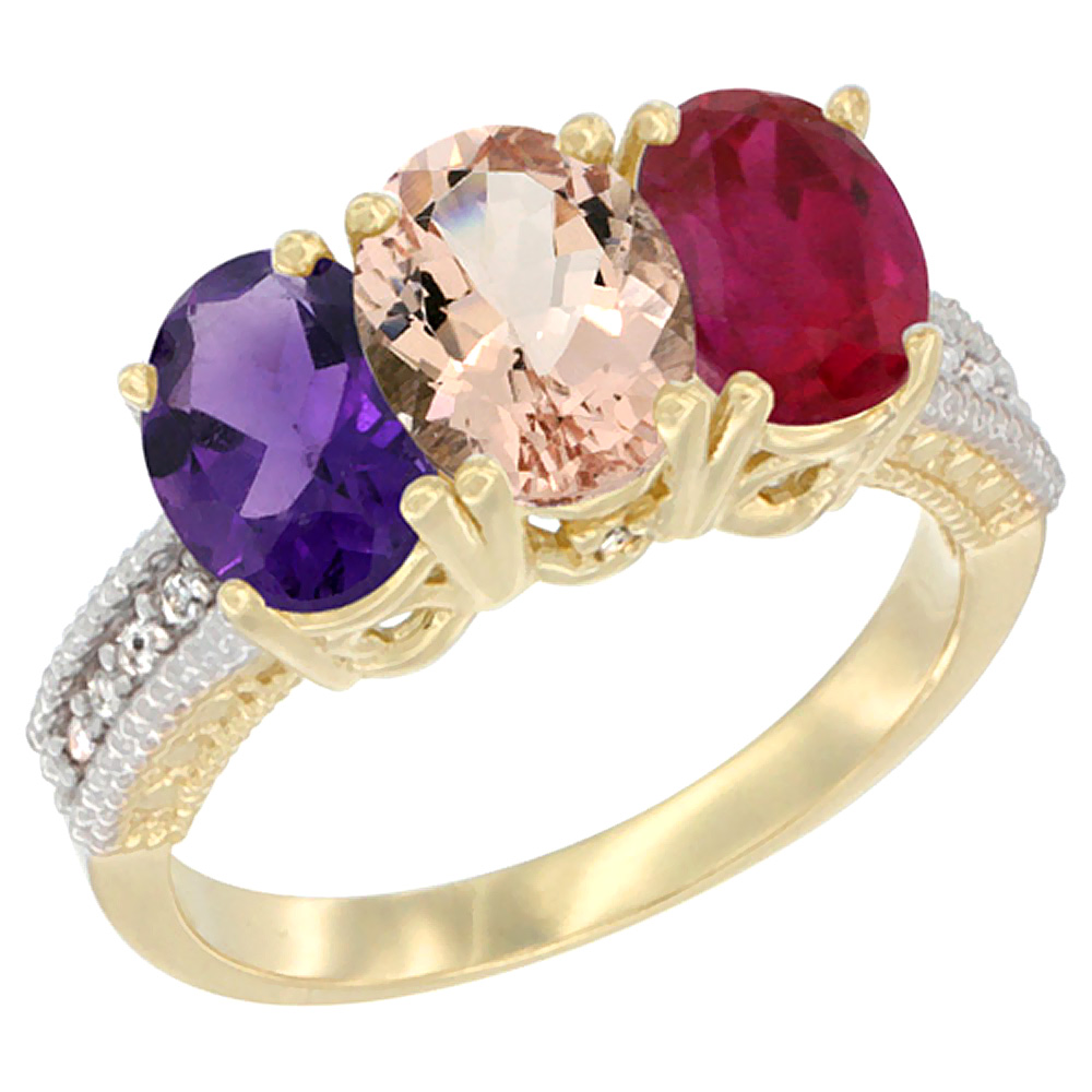 10K Yellow Gold Diamond Natural Amethyst, Morganite & Enhanced Ruby Ring Oval 3-Stone 7x5 mm,sizes 5-10