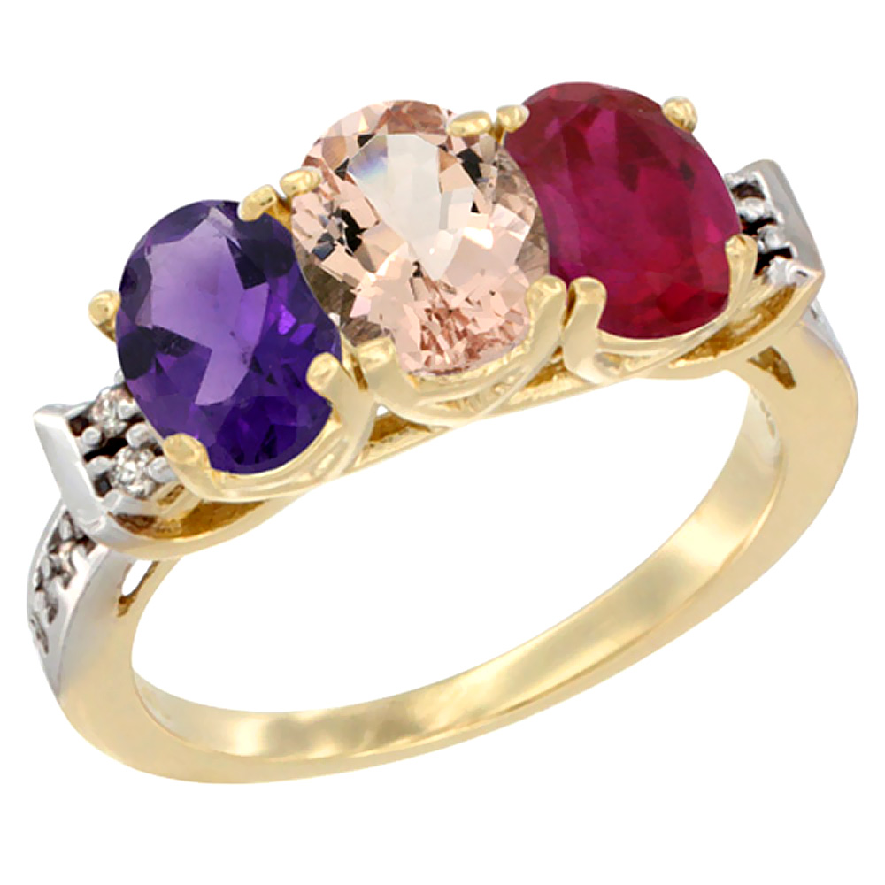 14K Yellow Gold Natural Amethyst, Morganite & Enhanced Ruby Ring 3-Stone 7x5 mm Oval Diamond Accent, sizes 5 - 10