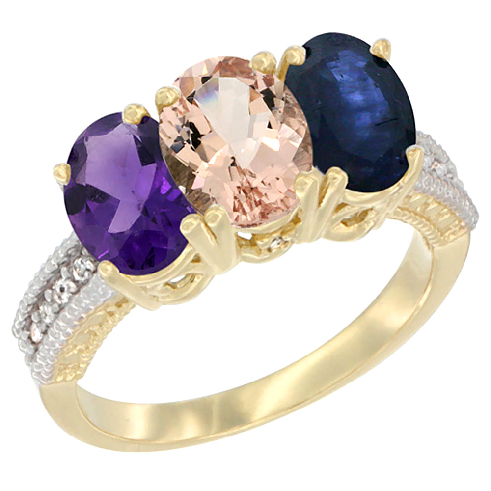 10K Yellow Gold Diamond Natural Amethyst, Morganite & Blue Sapphire Ring Oval 3-Stone 7x5 mm,sizes 5-10