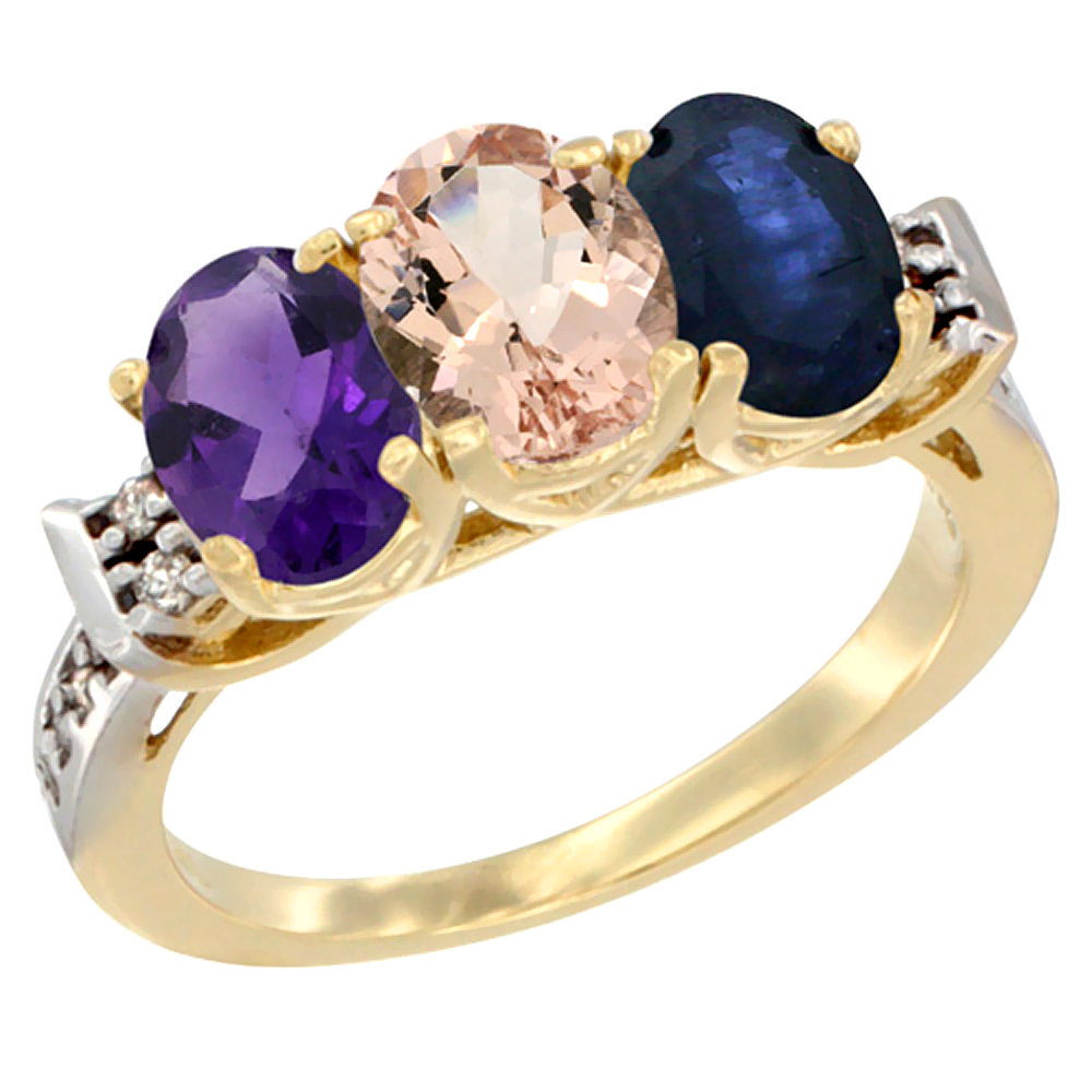 10K Yellow Gold Natural Amethyst, Morganite & Blue Sapphire Ring 3-Stone Oval 7x5 mm Diamond Accent, sizes 5 - 10