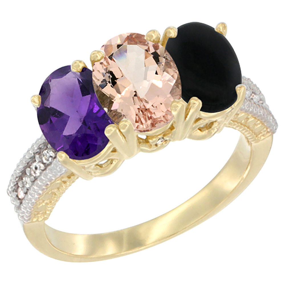 10K Yellow Gold Diamond Natural Amethyst, Morganite & Black Onyx Ring Oval 3-Stone 7x5 mm,sizes 5-10
