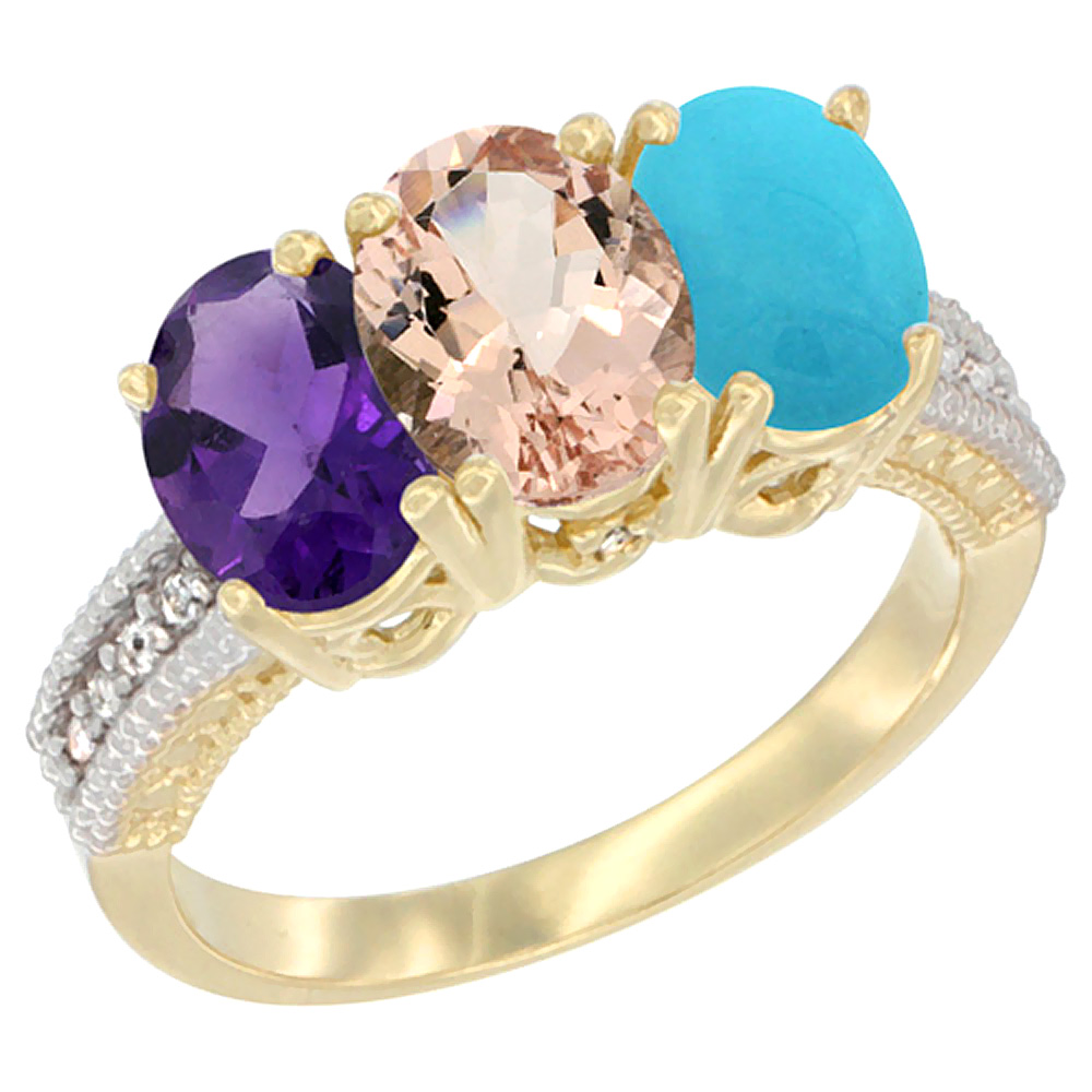 10K Yellow Gold Diamond Natural Amethyst, Morganite & Turquoise Ring Oval 3-Stone 7x5 mm,sizes 5-10