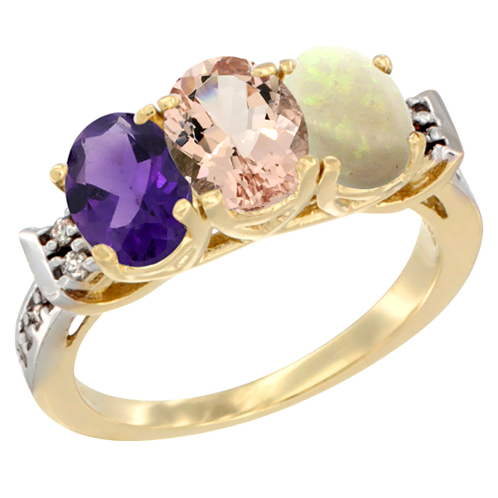 10K Yellow Gold Natural Amethyst, Morganite & Opal Ring 3-Stone Oval 7x5 mm Diamond Accent, sizes 5 - 10