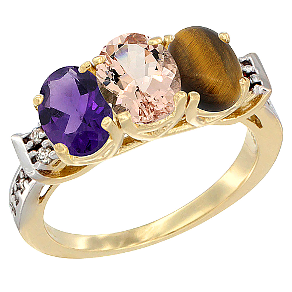 10K Yellow Gold Natural Amethyst, Morganite & Tiger Eye Ring 3-Stone Oval 7x5 mm Diamond Accent, sizes 5 - 10