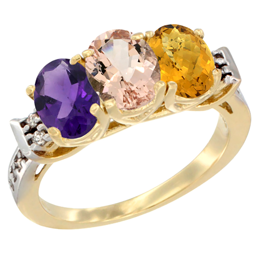 10K Yellow Gold Natural Amethyst, Morganite & Whisky Quartz Ring 3-Stone Oval 7x5 mm Diamond Accent, sizes 5 - 10