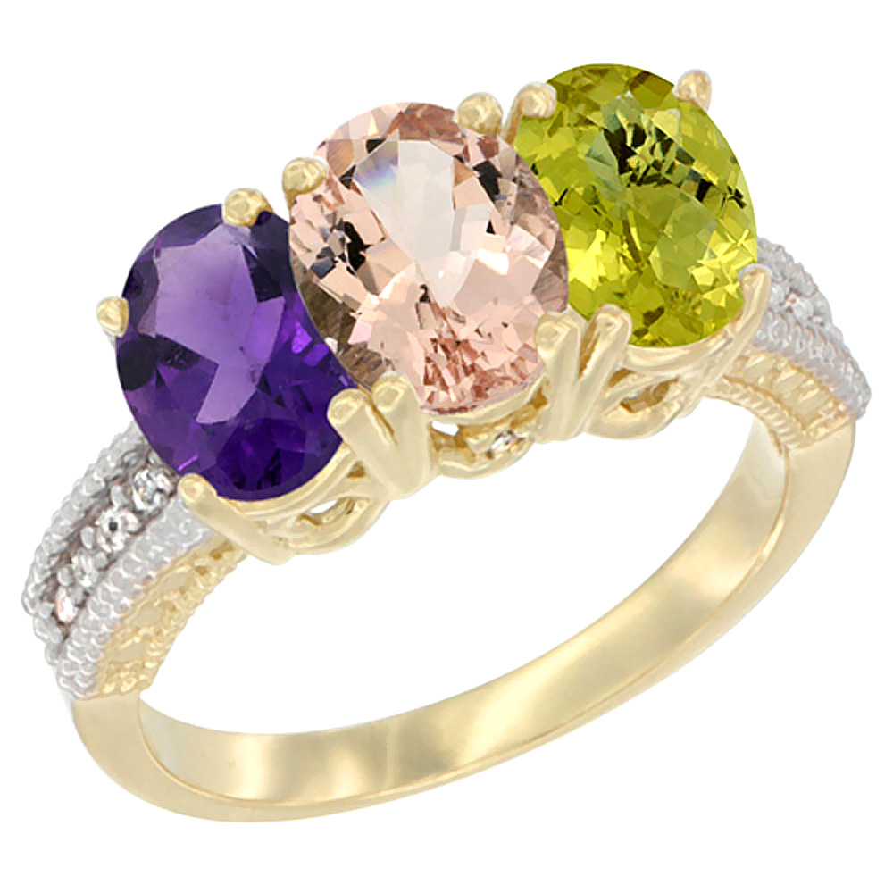 10K Yellow Gold Diamond Natural Amethyst, Morganite & Lemon Quartz Ring Oval 3-Stone 7x5 mm,sizes 5-10