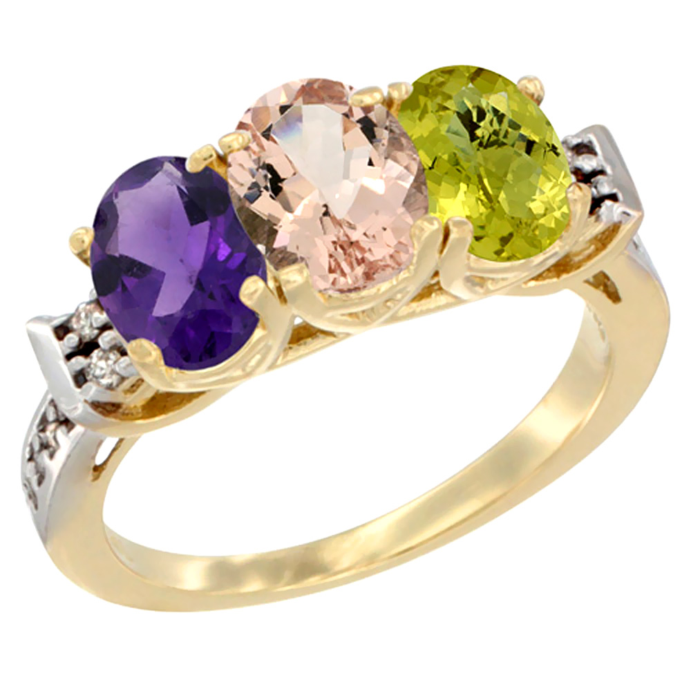 14K Yellow Gold Natural Amethyst, Morganite & Lemon Quartz Ring 3-Stone 7x5 mm Oval Diamond Accent, sizes 5 - 10