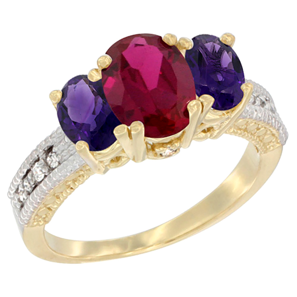 10K Yellow Gold Ladies Oval Enhanced Ruby Ring 3-stone with Amethyst Sides Diamond Accent