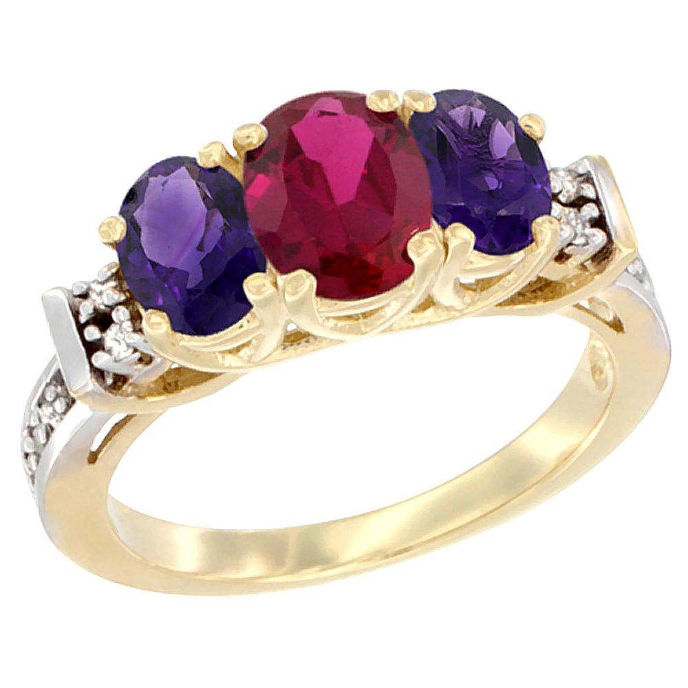 14K Yellow Gold Enhanced Ruby & Natural Amethyst Ring 3-Stone Oval Diamond Accent