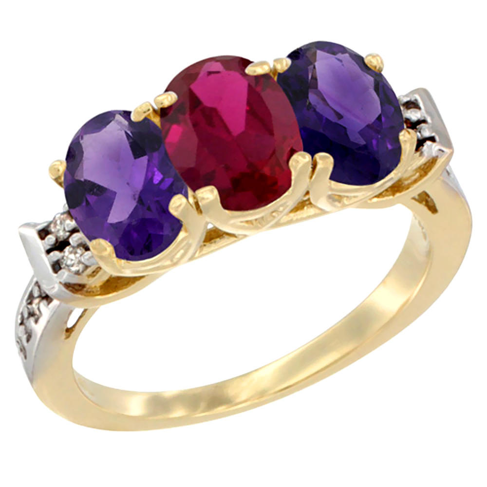 14K Yellow Gold Enhanced Ruby & Natural Amethyst Sides Ring 3-Stone 7x5 mm Oval Diamond Accent, sizes 5 - 10