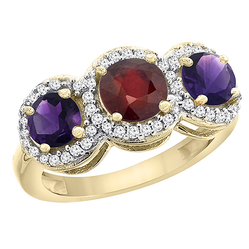 14K Yellow Gold Enhanced Ruby & Amethyst Sides Round 3-stone Ring Diamond Accents, sizes 5 - 10