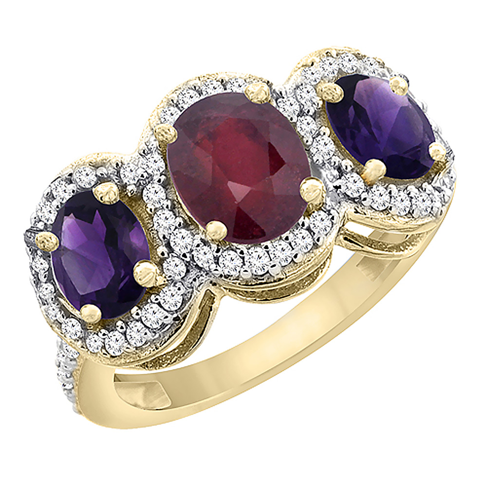 10K Yellow Gold Enhanced Ruby & Natural Amethyst 3-Stone Ring Oval Diamond Accent, sizes 5 - 10
