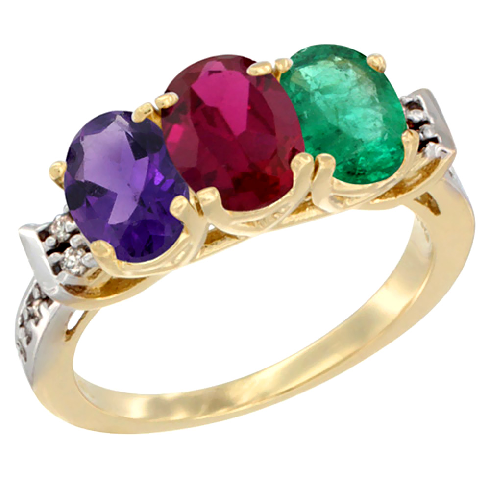 10K Yellow Gold Natural Amethyst, Enhanced Ruby & Natural Emerald Ring 3-Stone Oval 7x5 mm Diamond Accent, sizes 5 - 10