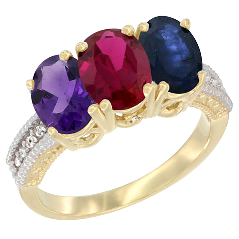 14K Yellow Gold Natural Amethyst, Enhanced Ruby & Natural Blue Sapphire Ring 3-Stone 7x5 mm Oval Diamond Accent, sizes 5 - 10