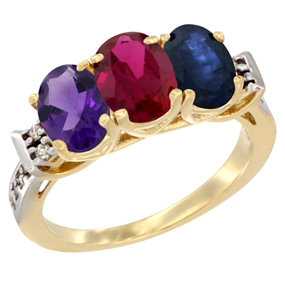 10K Yellow Gold Natural Amethyst, Enhanced Ruby & Natural Blue Sapphire Ring 3-Stone Oval 7x5 mm Diamond Accent, sizes 5 - 10