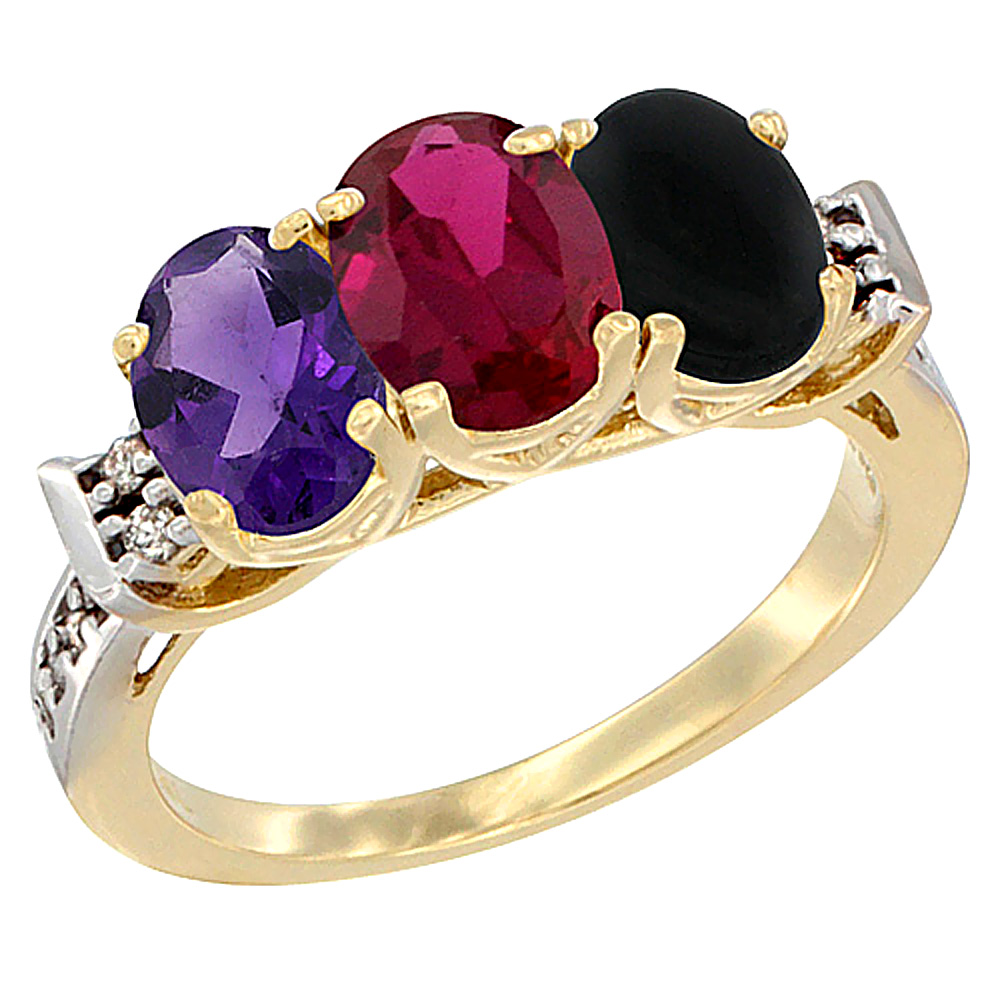 10K Yellow Gold Natural Amethyst, Enhanced Ruby & Natural Black Onyx Ring 3-Stone Oval 7x5 mm Diamond Accent, sizes 5 - 10
