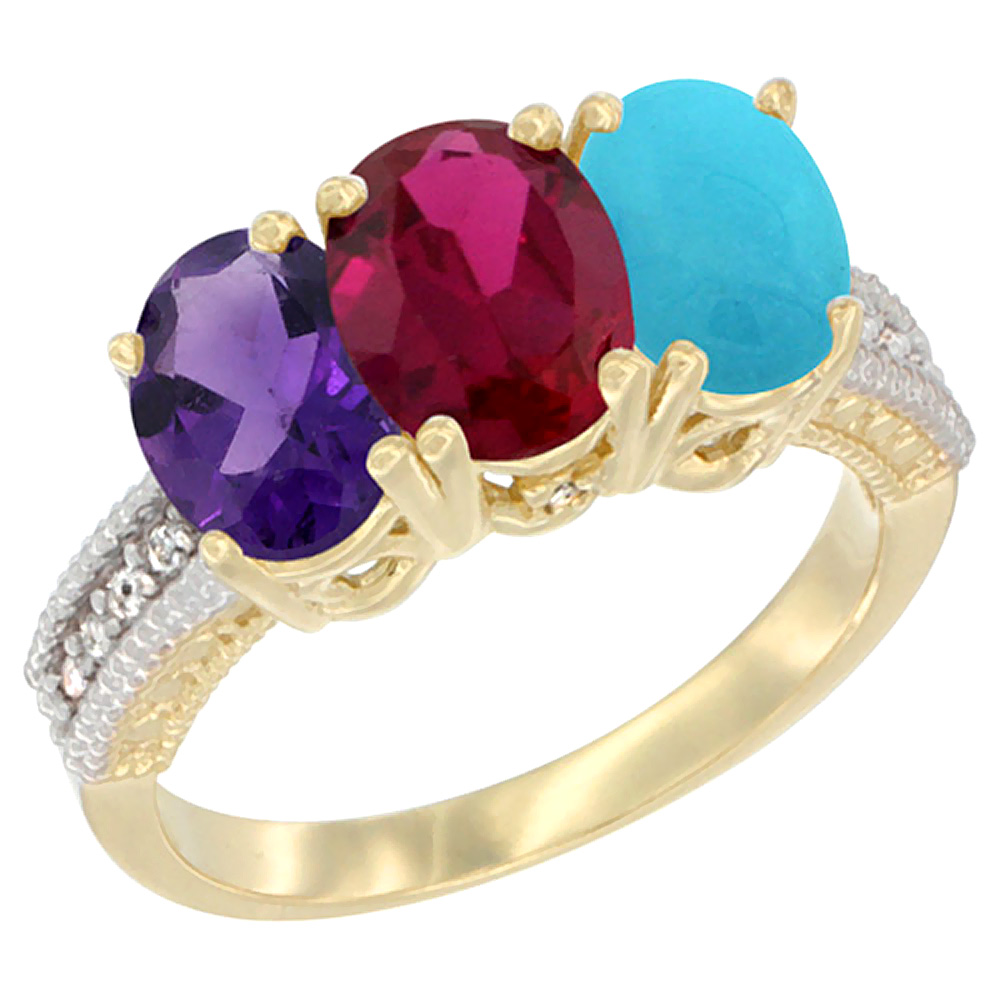 10K Yellow Gold Diamond Natural Amethyst, Enhanced Ruby & Natural Turquoise Ring Oval 3-Stone 7x5 mm,sizes 5-10