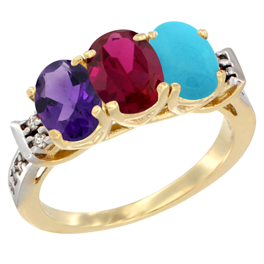 10K Yellow Gold Natural Amethyst, Enhanced Ruby & Natural Turquoise Ring 3-Stone Oval 7x5 mm Diamond Accent, sizes 5 - 10