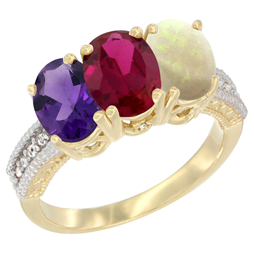 10K Yellow Gold Diamond Natural Amethyst, Enhanced Ruby & Natural Opal Ring Oval 3-Stone 7x5 mm,sizes 5-10