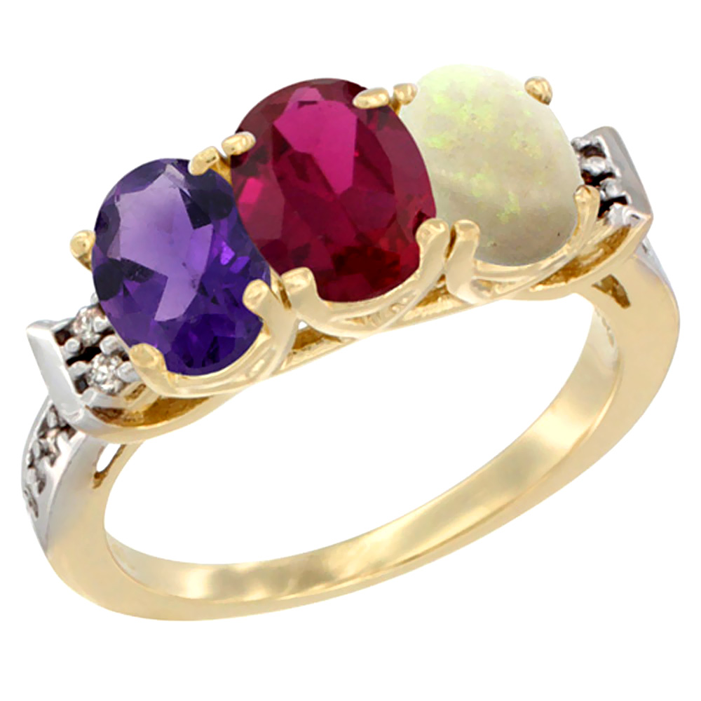 14K Yellow Gold Natural Amethyst, Enhanced Ruby & Natural Opal Ring 3-Stone 7x5 mm Oval Diamond Accent, sizes 5 - 10