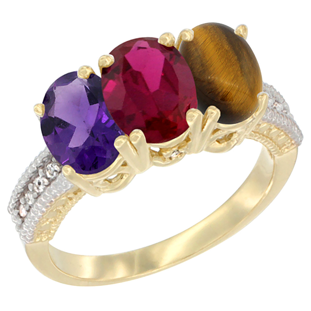 10K Yellow Gold Diamond Natural Amethyst, Enhanced Ruby & Natural Tiger Eye Ring Oval 3-Stone 7x5 mm,sizes 5-10