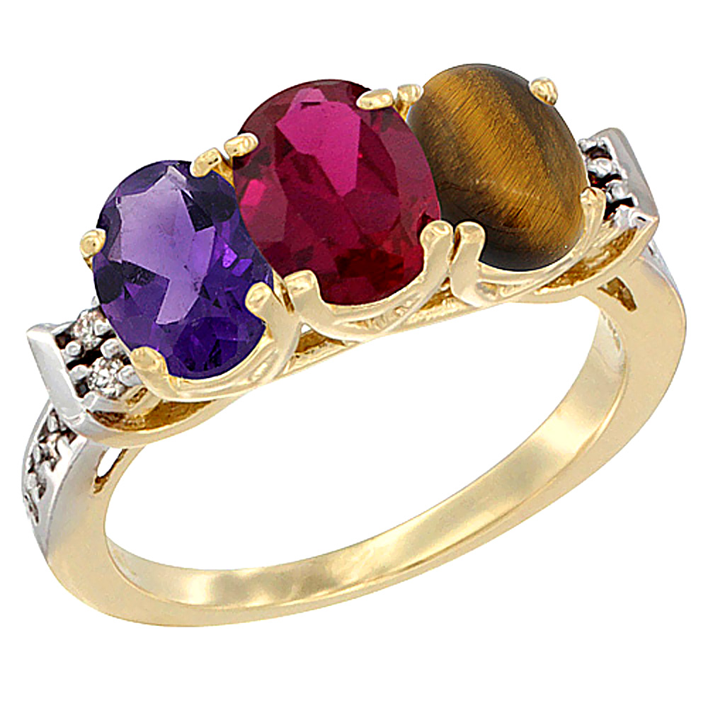 10K Yellow Gold Natural Amethyst, Enhanced Ruby & Natural Tiger Eye Ring 3-Stone Oval 7x5 mm Diamond Accent, sizes 5 - 10
