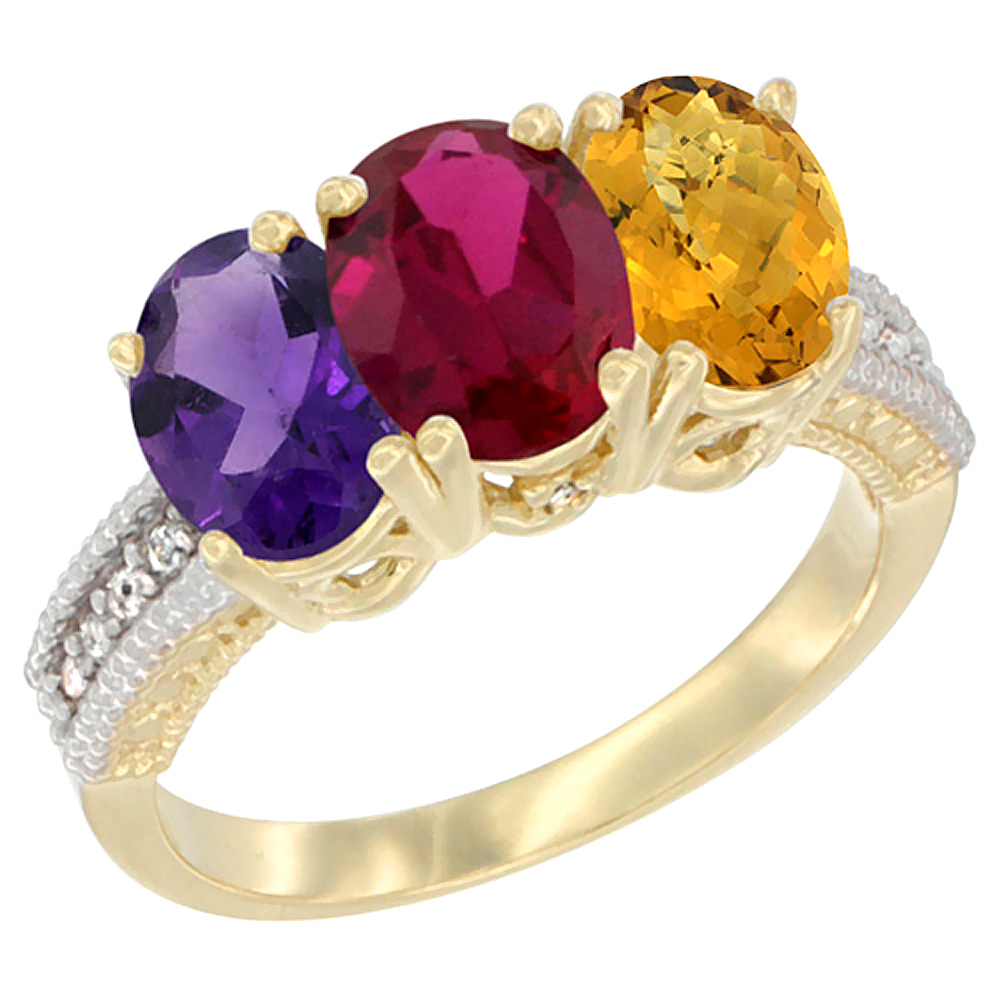 10K Yellow Gold Diamond Natural Amethyst, Enhanced Ruby & Natural Whisky Quartz Ring Oval 3-Stone 7x5 mm,sizes 5-10