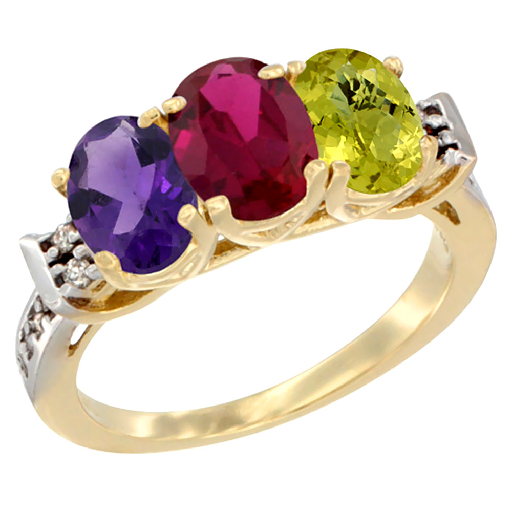 10K Yellow Gold Natural Amethyst, Enhanced Ruby & Natural Lemon Quartz Ring 3-Stone Oval 7x5 mm Diamond Accent, sizes 5 - 10