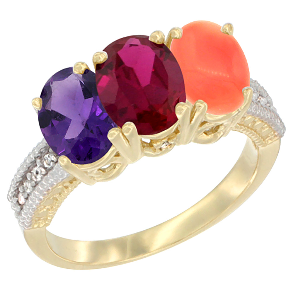 14K Yellow Gold Natural Amethyst, Enhanced Ruby & Natural Coral Ring 3-Stone 7x5 mm Oval Diamond Accent, sizes 5 - 10